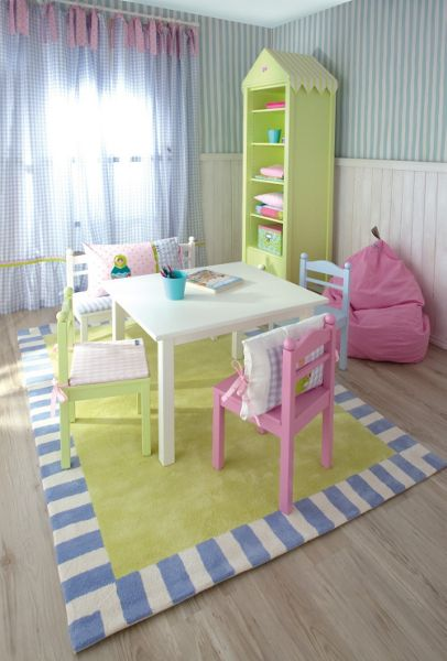 The Baby Cot Shop Green Blue Border Rug