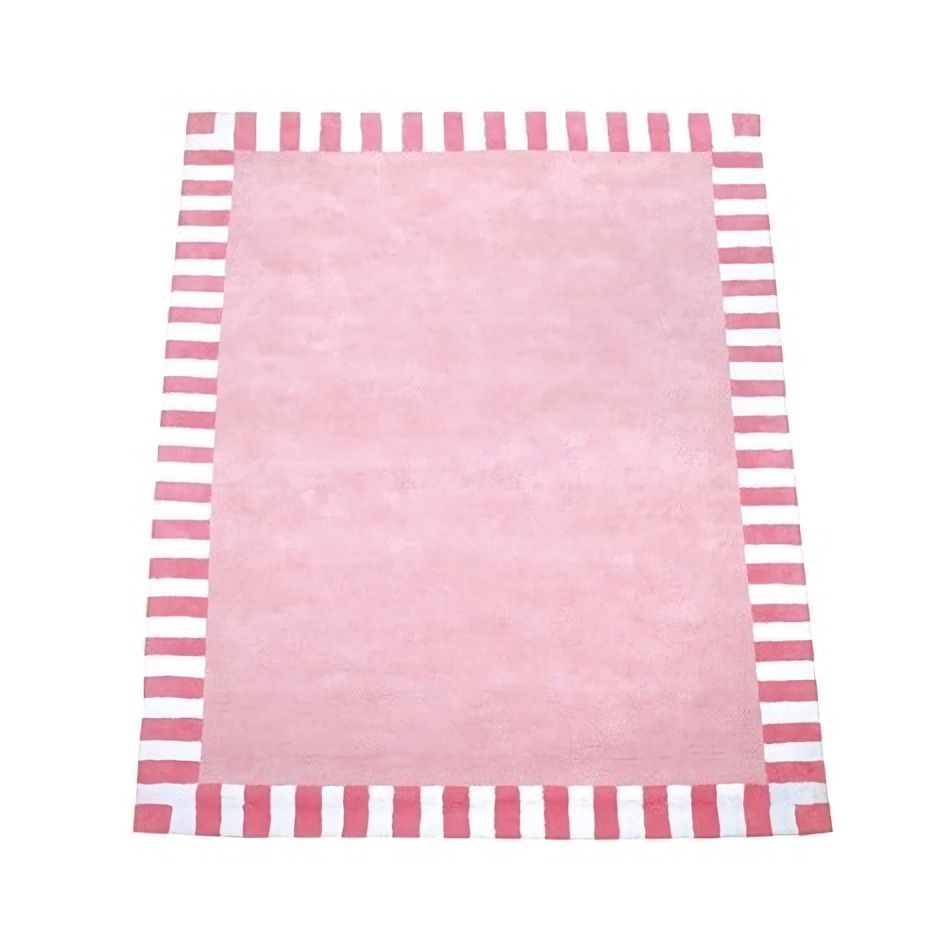Image of The Baby Cot Shop Pink Stripe Border Rug