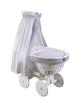Grey and White Drape Bassinet