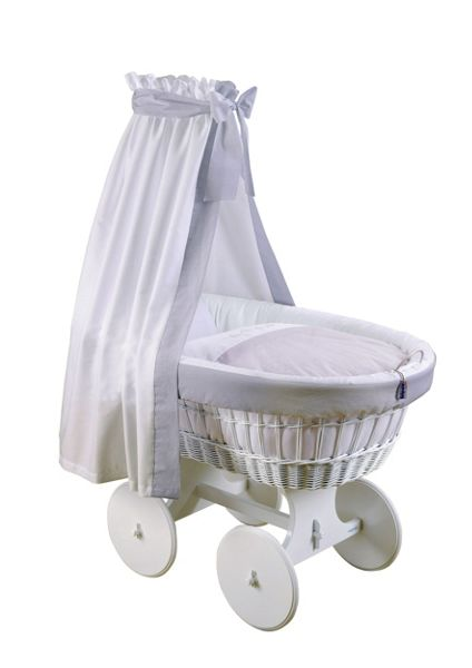 The Baby Cot Shop Grey and White Drape Bassinet