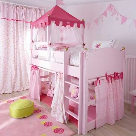 The Baby Cot Shop Pink Castle Mid Sleeper Bed