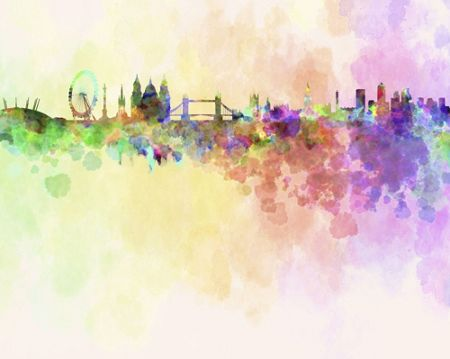 Graham & Brown London Skyline in Watercolour Wall Mural