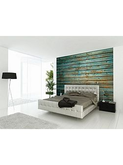 Blue Washed Timber Wall Mural