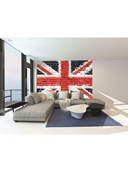 Union Jack Street Art on Brick Wall Mural