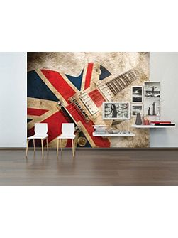 Union Jack Rock Guitar Wall Mural