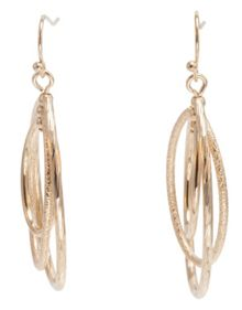 Triple Oval Gold Tone Earrings