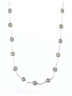 Anne Klein Silver Tone Crystal Fireball Necklace