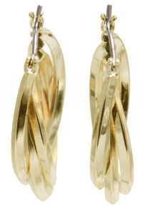 Gold Tone 3 Ring Hoop Earrings
