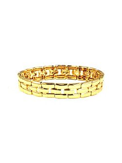 Gold Tone Linked Stretch Bracelet