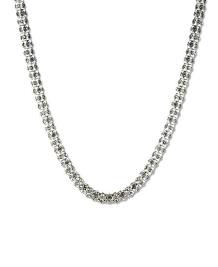 Anne Klein Short Silver Crystal Tubular Necklace
