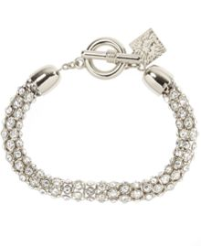 Anne Klein Silver Tubular Crystal Toggle Bracelet