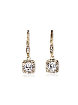Gold tone double drop earrings