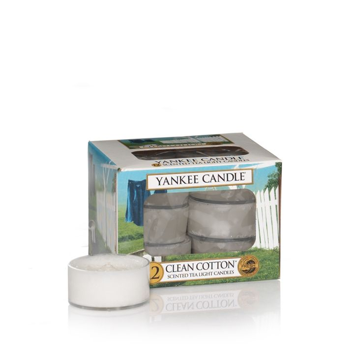 Yankee Candle Clean cotton tea lights box of 12