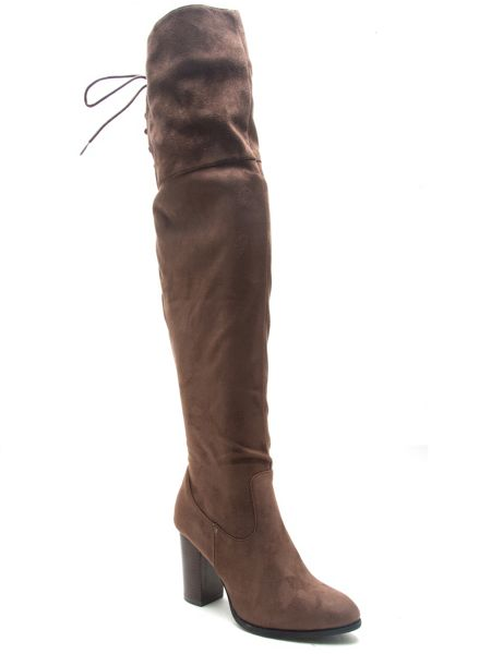 Qupid Zinc over the knee boot