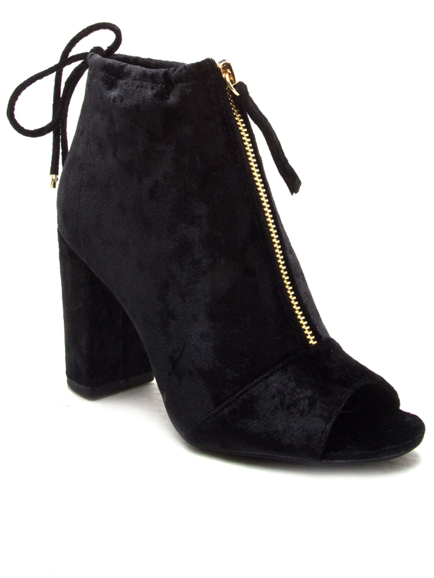 Qupid Chester velvet peep toe boot, Black
