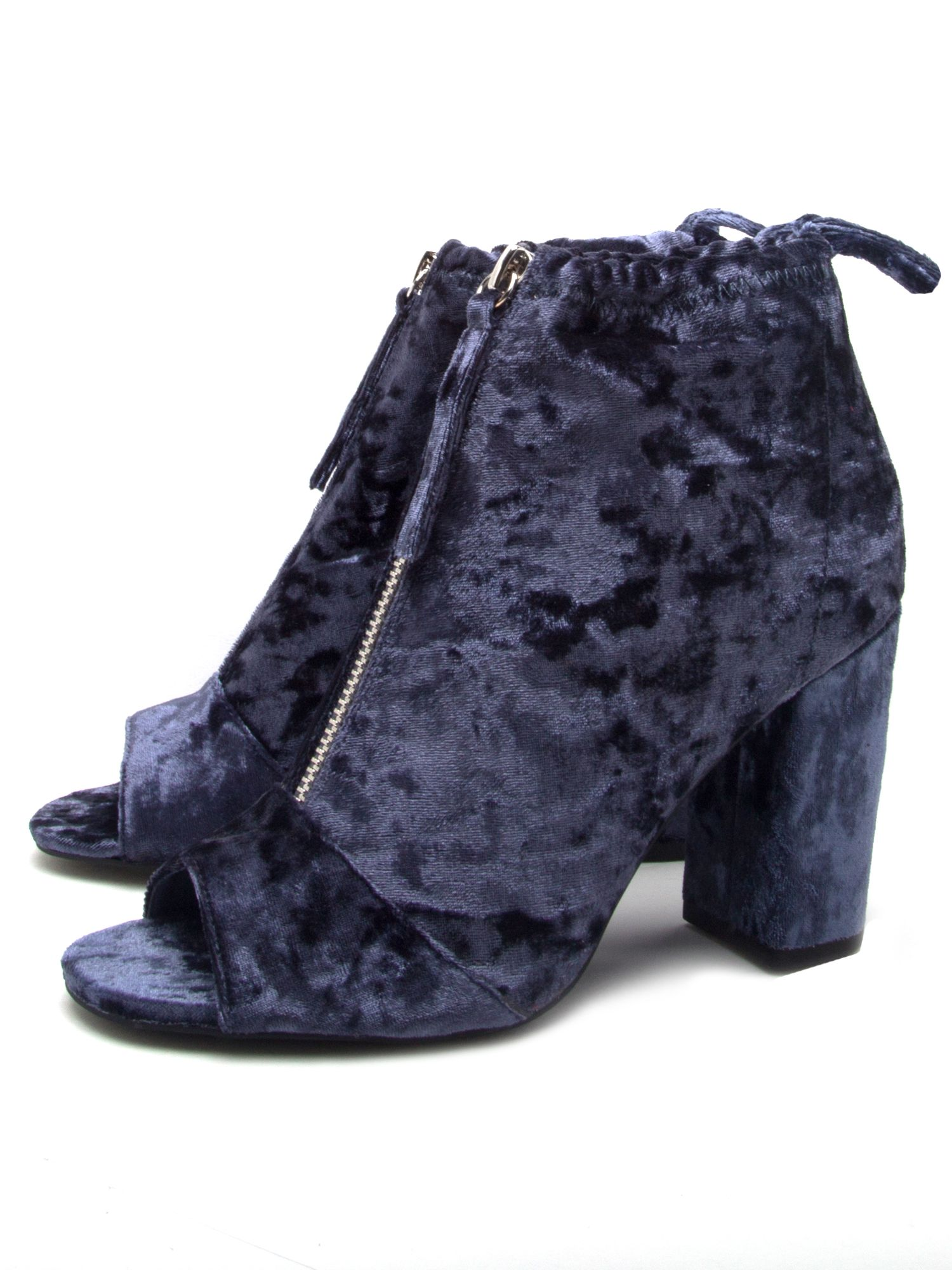 Qupid Chester velvet peep toe boot, Blue