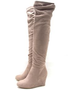Qupid Ricki wedge knee boot