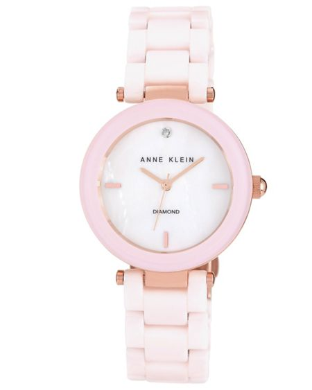Anne Klein 35 mm rose gold-tone case watch