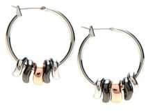 Nine West Tri Tone Shaky Hoop Earrings