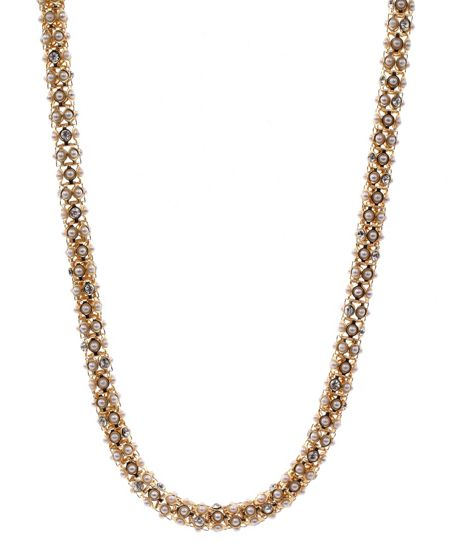 Anne Klein Gold Tone and Pearl Tubular Necklace