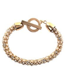 Anne Klein Gold Tone and Pearl Tubular Bracelet
