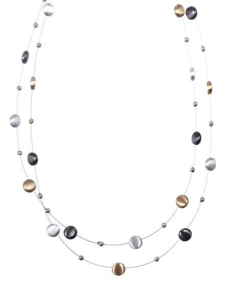 Nine West Tri Tone Circles Two Row Necklace