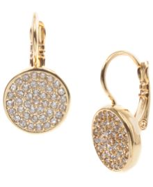 Anne Klein Gold Tone Pave Drop Earrings