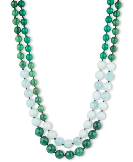 LONNA & LILLY Dip Dye Green Bead Necklace