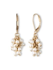 LONNA & LILLY Goldtone and Pearl Cluster Drop Earrings