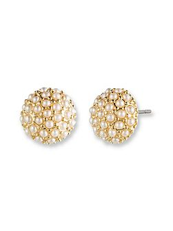 Clustered Pearl Stud Earrings