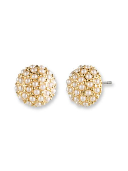 LONNA & LILLY Pearl Button Earrings