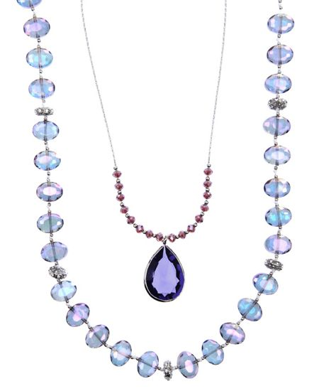 LONNA & LILLY Double Purple Beaded Necklace
