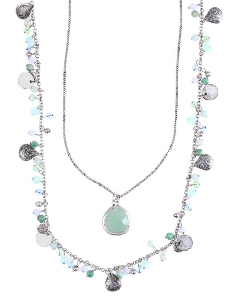 LONNA & LILLY Double Jade Necklace