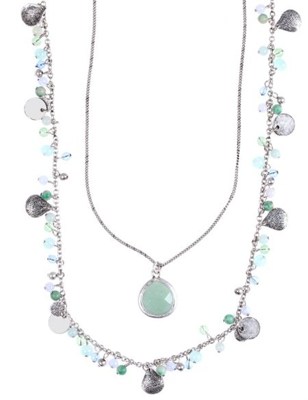 LONNA & LILLY Two Row Shaky Nested Pendant Necklace