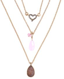 LONNA & LILLY Set of Three Rose Necklaces
