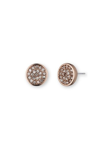 Anne Klein Button Stud Pave Earrings