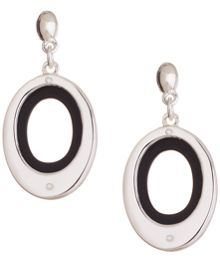 Nine West Silver and Black Drop Earrings