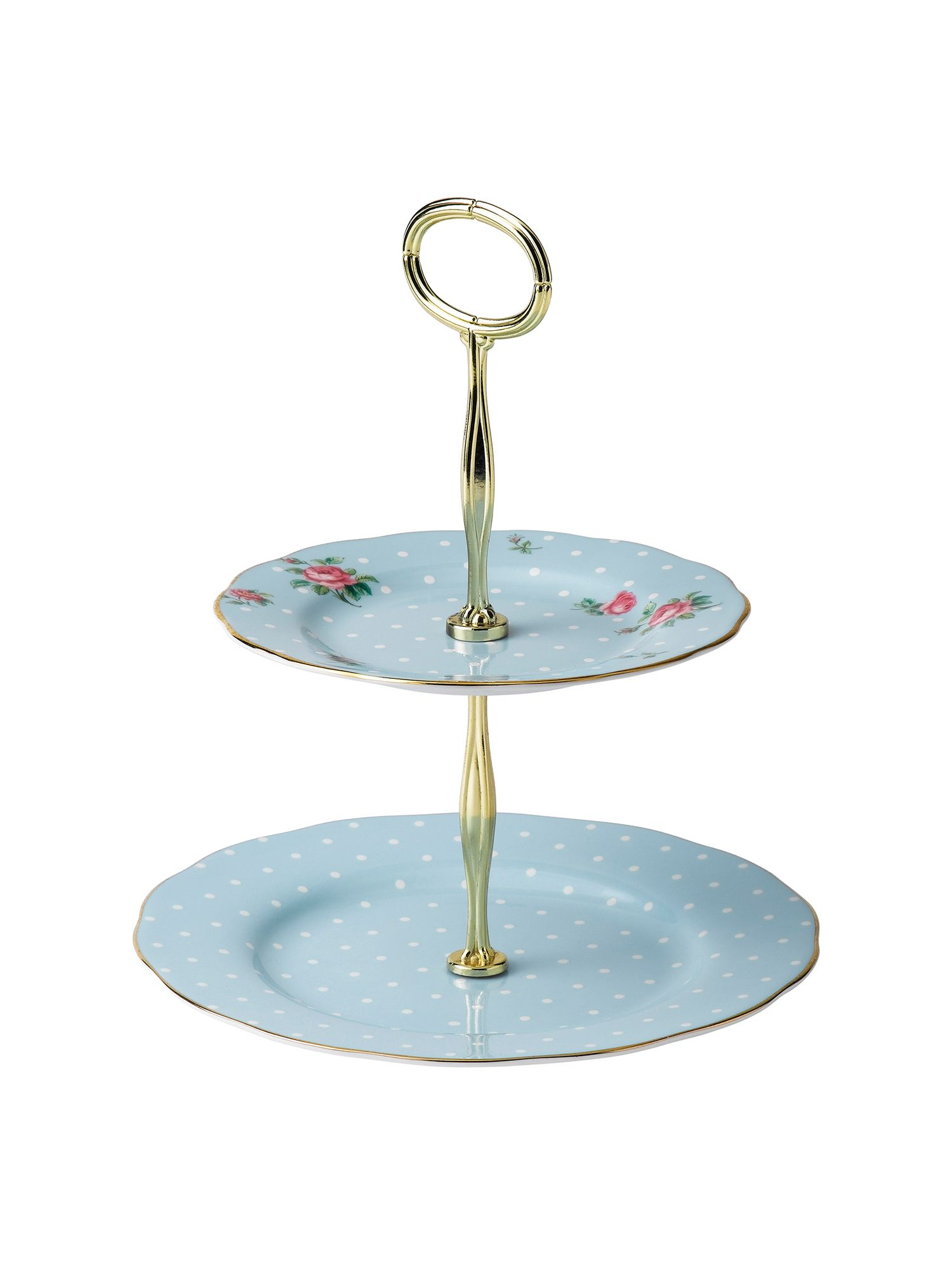 Royal Albert Polka blue 2 tier cake stand boxed