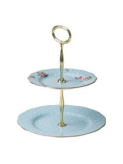 Polka blue 2 tier cake stand boxed