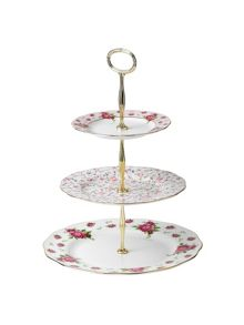 New country roses 3 tier cake stand