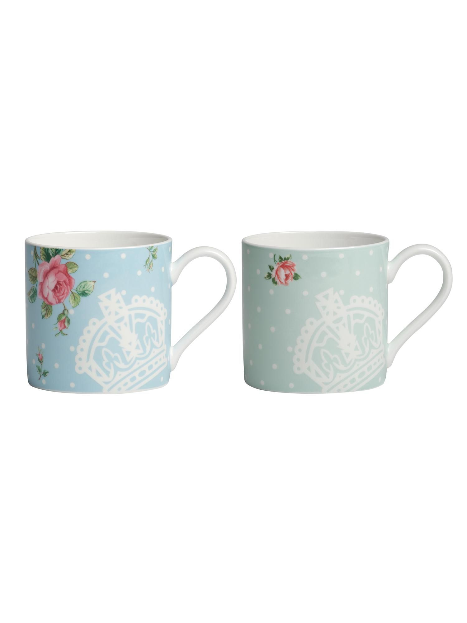 Polka rose set of 2 mugs