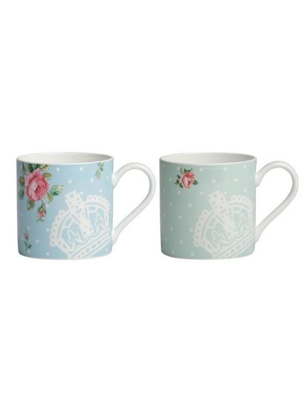 Royal Albert Polka rose set of 2 mugs