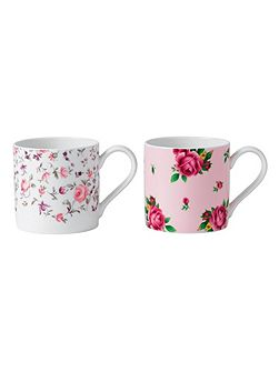New country roses set of 2 mugs