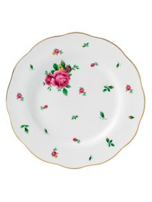 New country roses white salad plate 20cm