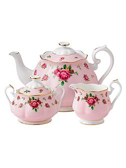 New country roses pink 3 piece tea set