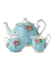 Royal Albert Polka blue 3 piece tea set