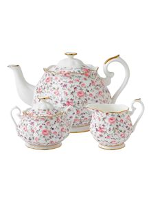 Royal Albert Rose confetti 3 piece tea set