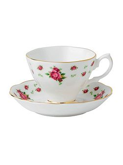 New country roses teacup and saucer