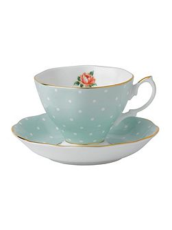 Polka rose teacup and saucer boxed