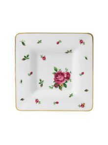 New country roses white squareuare trinket tray